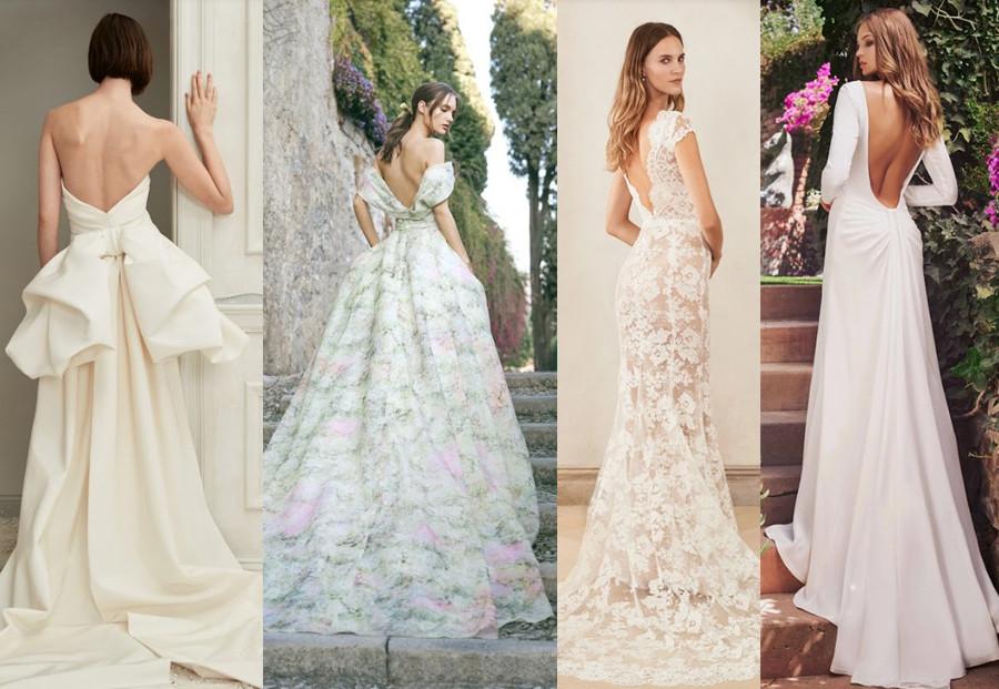Oscar de la Renta Fall 2019, Monique Lhuillier Fall 2020, Oscar de la Renta Fall 2020, Tadashi Shoji Fall 2020 bridal fashion week wedding dresses 2020 open back wedding dresses