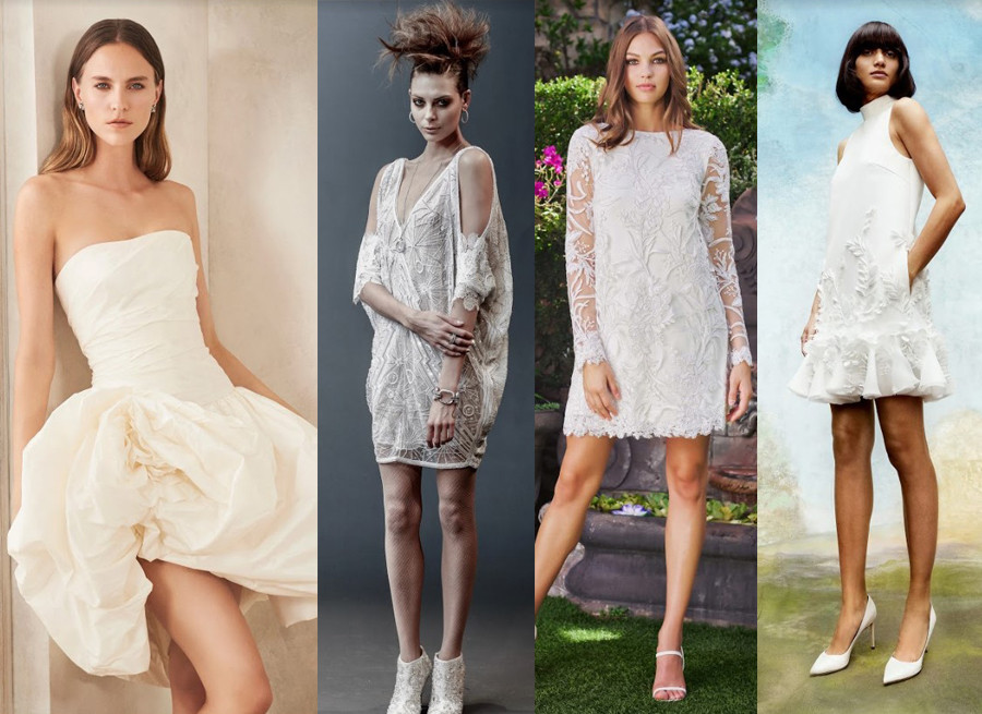 Oscar de la Renta Fall 2020, Naeem Khan Spring 2019, Tadashi Shoji Fall 2020, Viktor & Rolf Fall 2020 short wedding dresses new york bridal fashion week 2020 trends