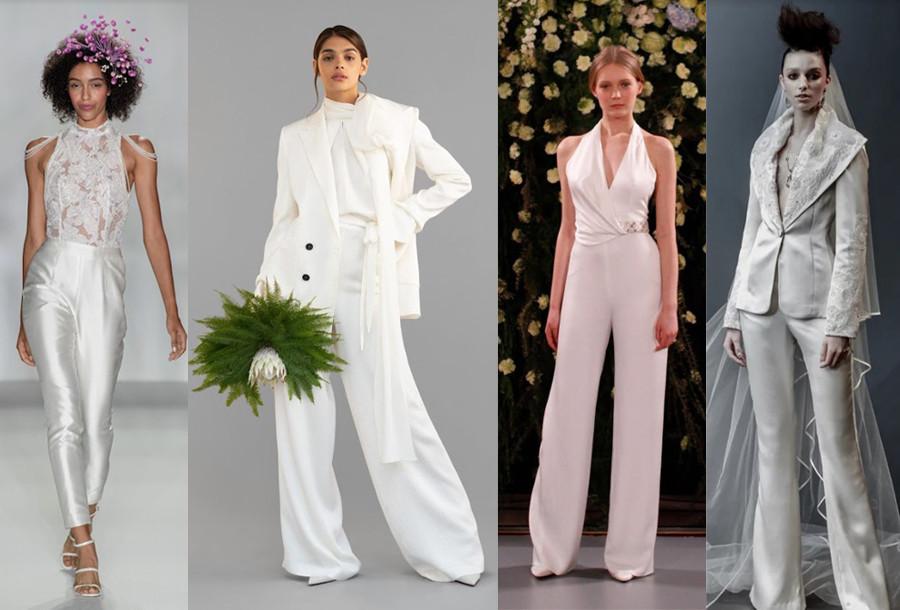 Anne Barge Fall 2020, Roland Mouret Spring 2020, Jenny Packham Spring 2019, Naeem Khan Spring 2019 wedding suits wedding bridal trouser suits new york bridal week 2020