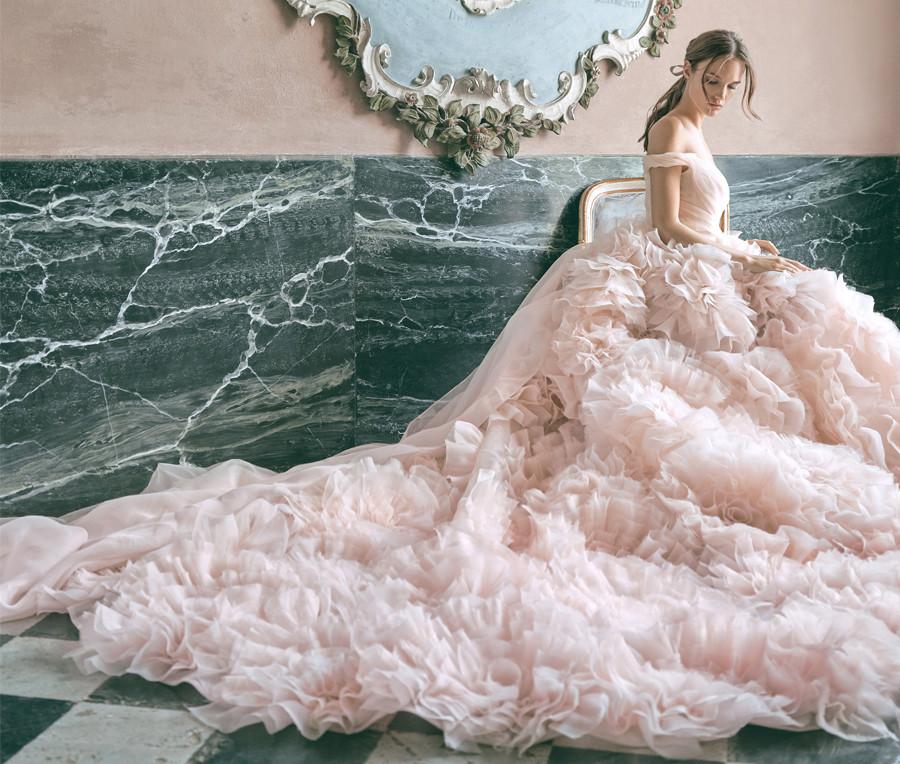 Monique Lhuillier Fall 2020 pink wedding dress bridal fashion week