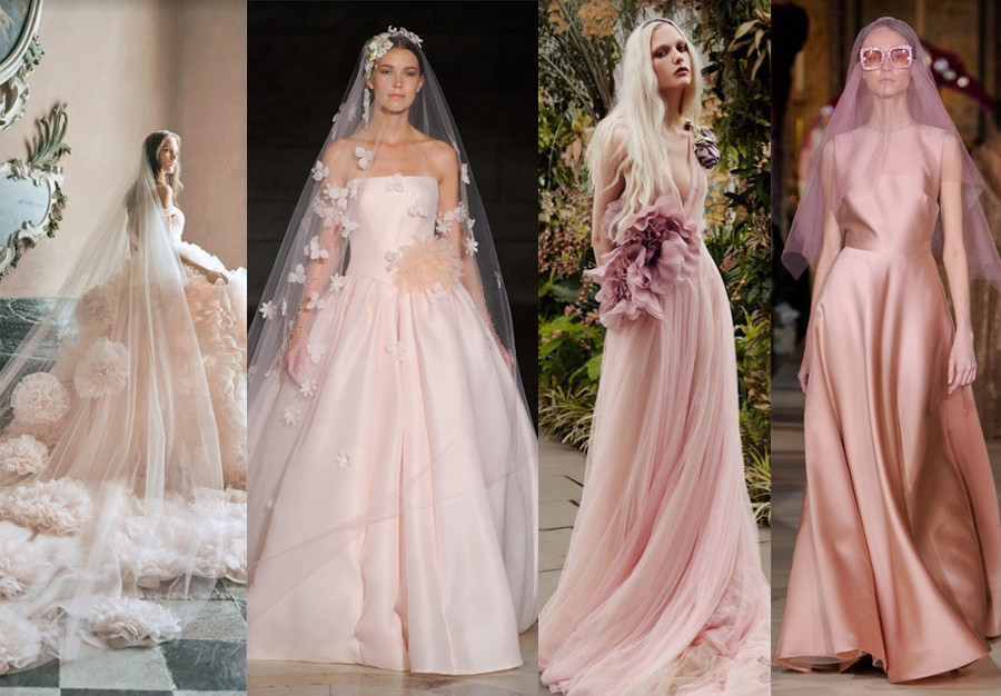 Monique Lhuillier Fall 2020, Reem Acra Fall 2019, Vera Wang Spring 2020, Reem Acra Spring 2020 new york bridal fashion week pink wedding dresses