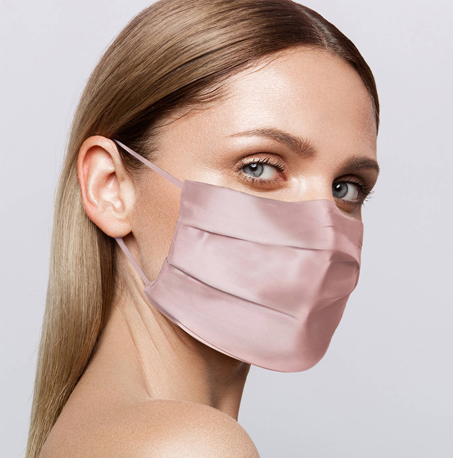 slip silk pink face covering