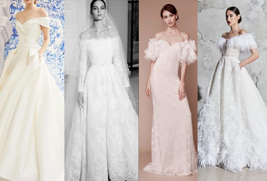 Carolina Herrera Fall 2019, Elie Saab Fall 2019, Tadashi Shoji Fall 2019, Zuhair Murad Spring 2020 bridal fashion week off the shoulder wedding dresses