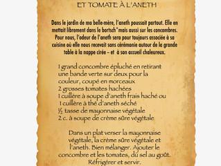 SALADE DE CONCOMBRE ET TOMATE À L'ANETH