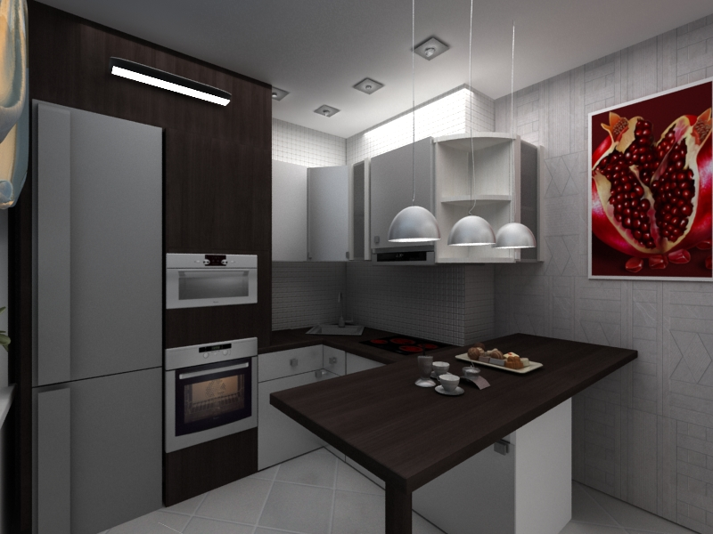 Дизайн маленькой кухонной зоныю