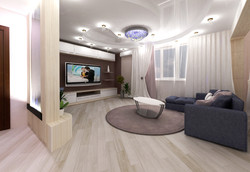 Дизайн гостиной комнаты с водной панелью.