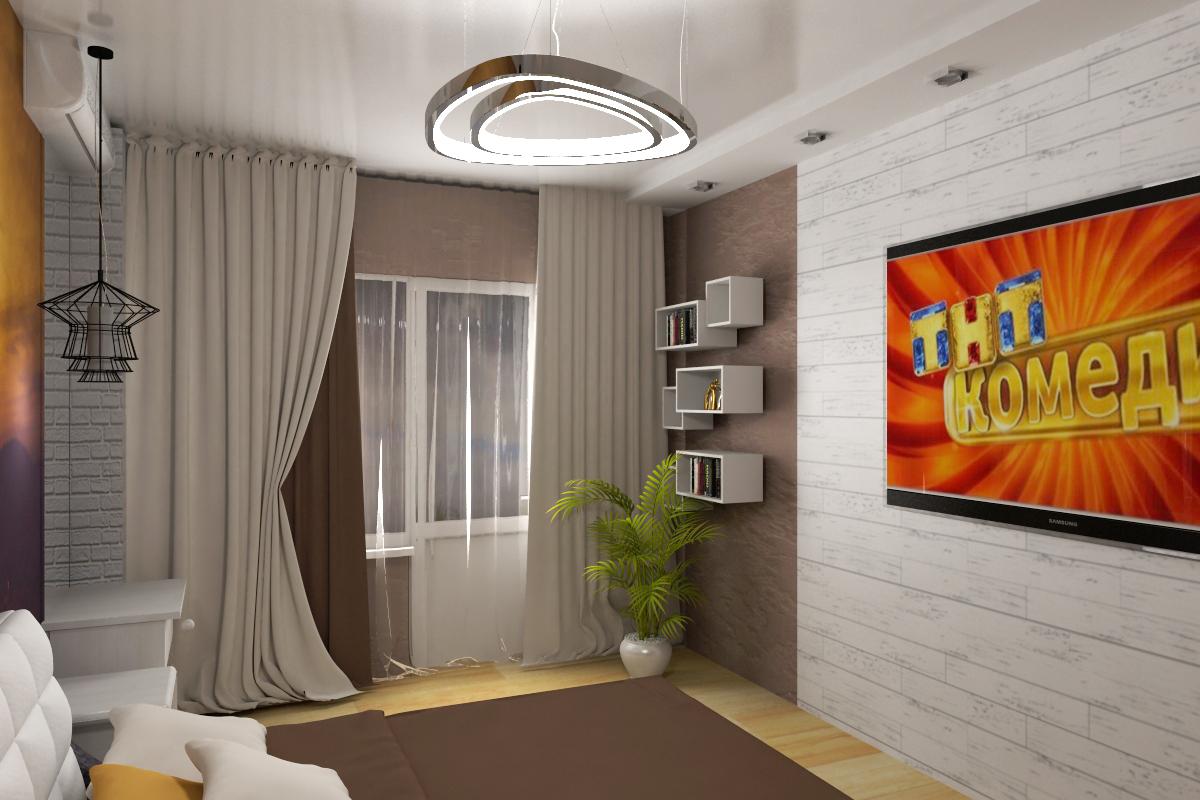 Дизайн интерьера спальной.Полки в интерьере.