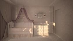 Дизайн спальной комнаты с детской кроваткой.