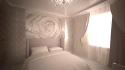 Дизайн спальной в светлых тонах и использованием барельефа.