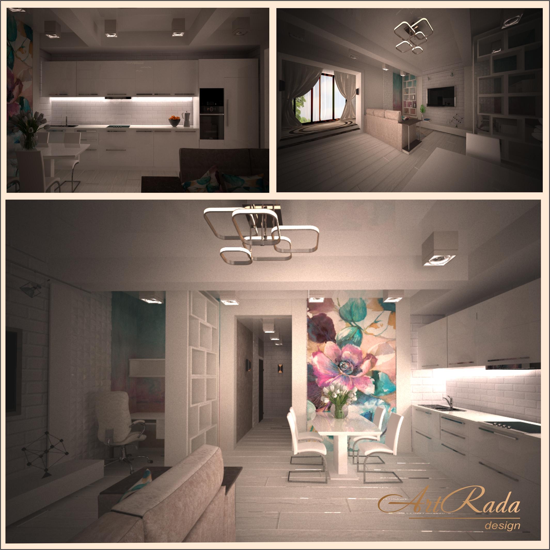 Дизайн гостиной в современном стиле с яркими акцентами.