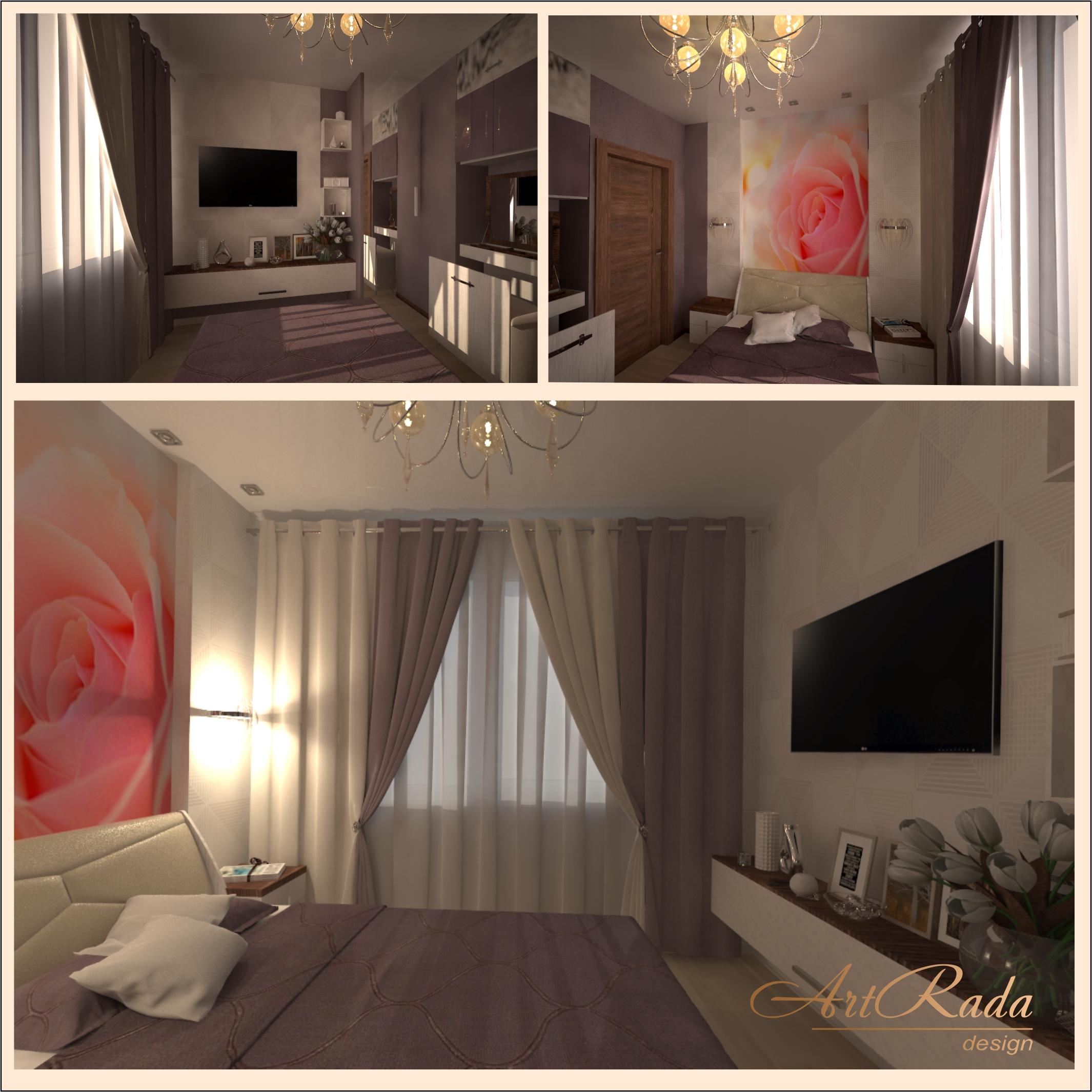 Дизайн спальной комнаты в романтическом стиле.
