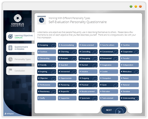 Custom eLearning Module introduces the learner to the concept of working with different personality types, built in Aticuate Storyline by Skillspace360