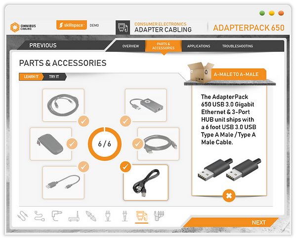 Custom eLearning Module allows the learner to explore individual product SKUs; built in Aticuate Storyline by Skillspace360
