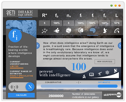 Custom eLearning Module, demonstrates the likelyhood of discovering intelligent life in the universe, built in Aticuate Storyline by Skillspace360