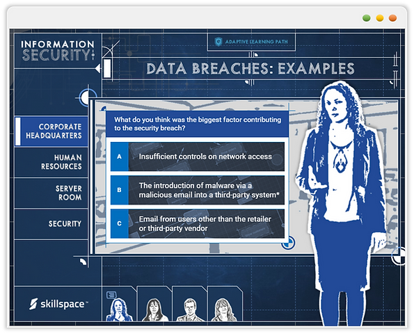 Custom eLearning Module introduces learners to information security topics in a fun and engaging way; built in Aticuate Storyline by Skillspace360