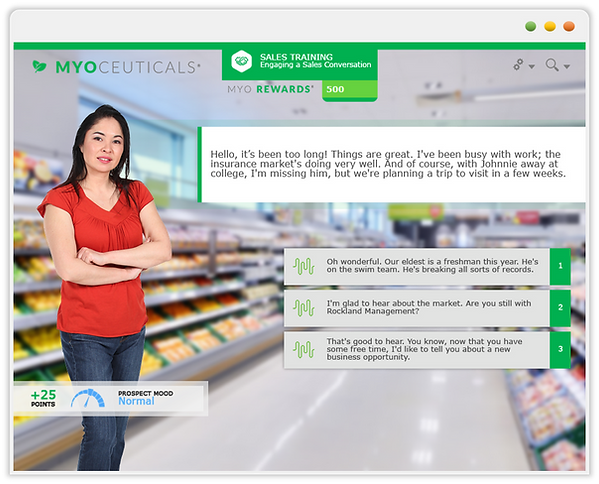 Custom eLearning Module, demonstrates a piece of a sales training curriculum for direct-selling consultants, built in Adobe Captivate by Skillspace360