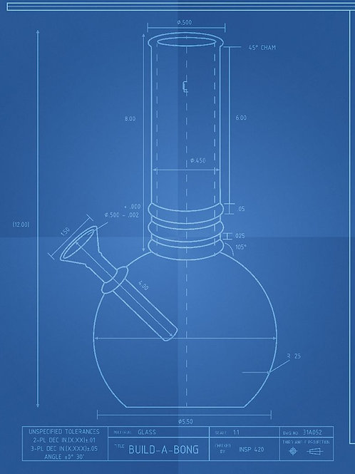 Flat Bottom Bong Schematic T-Shirt