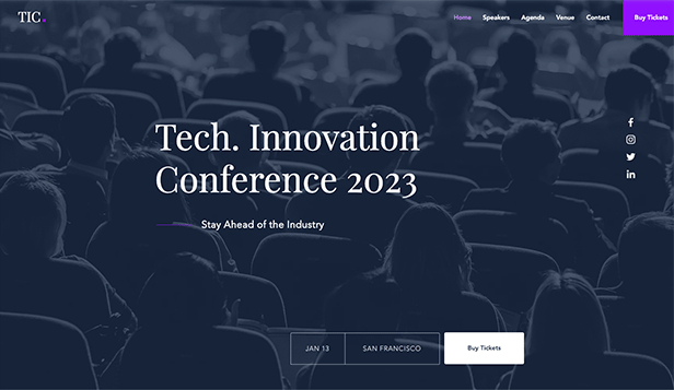 Página Promocional website templates – Tech Conference Landing Page