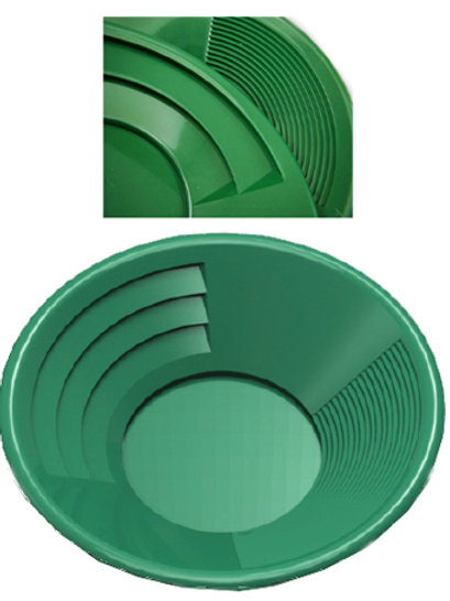 "14"" Green Dual Riffle Gold Pan, 3"" x 1/4"" Deep Riffles"