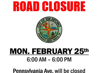 UPDATED - Notice of Road Closure - Pennsylvania Avenue - February 25th, 2019