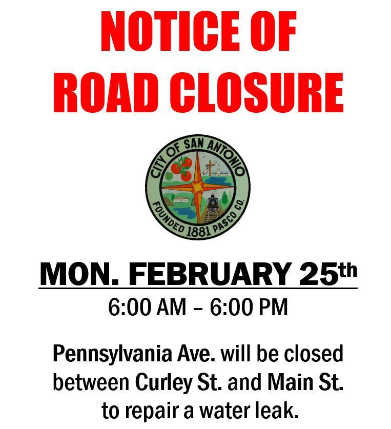 Notice fo Road Closure February 25