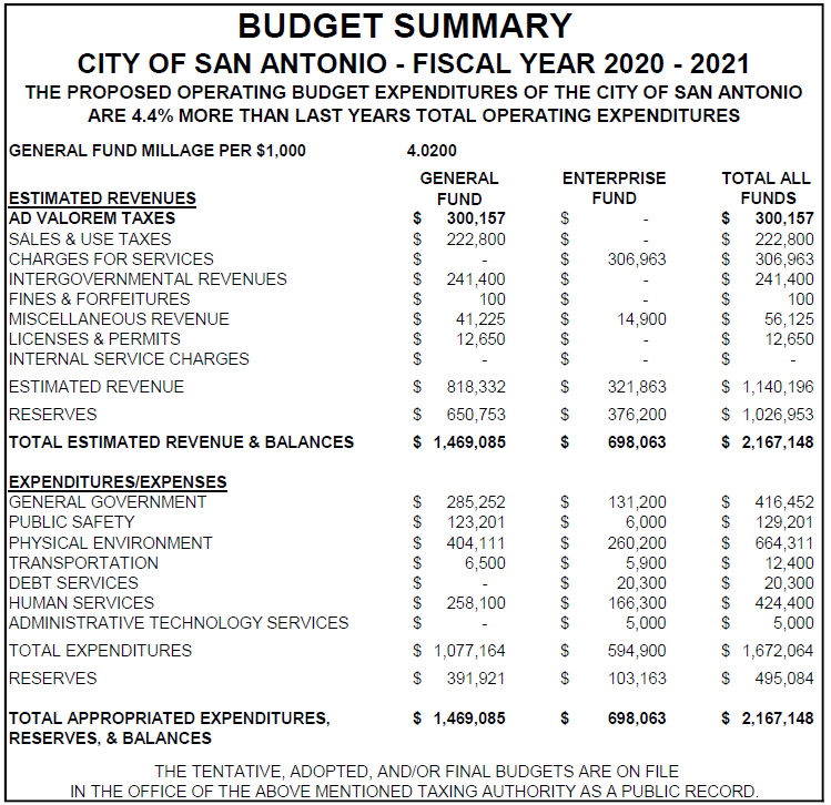 Budget Summary chart for Fiscal Year 2020-2021