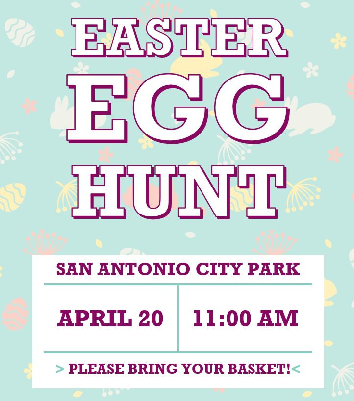 Easter Egg Hunt in City Park, April 20 at 11 AM