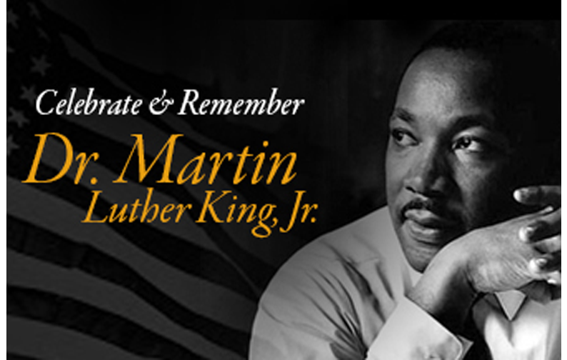 Image of Dr. Martin Luther King Jr. with text Celebrate and Remember