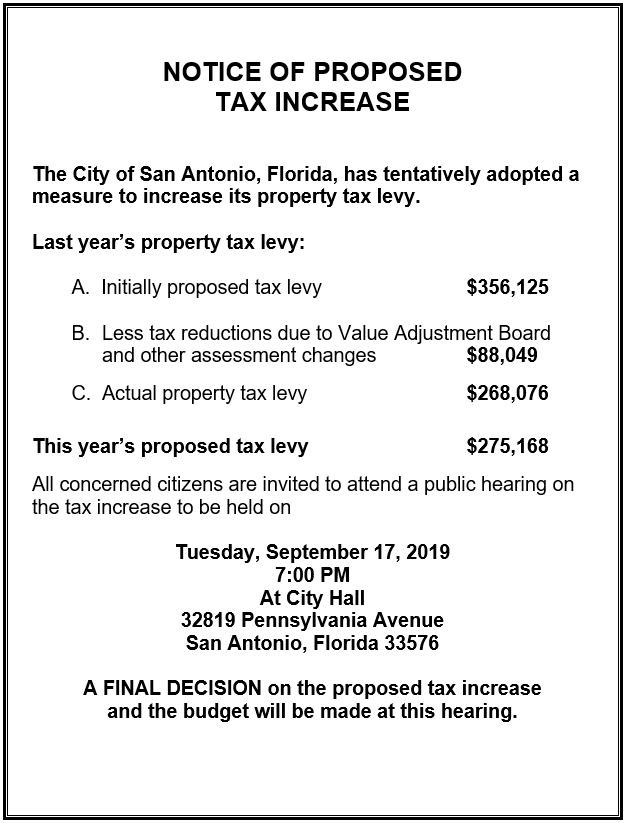 Advertised notice of proposed tax increase