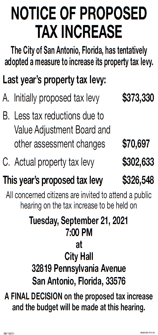 Notice of Proposed Tax Increase