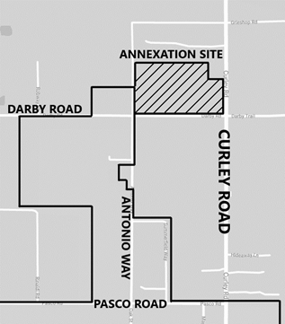 map showing site of proposed property to be annexed