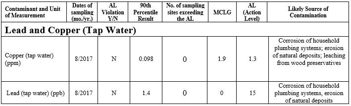 Chart of lead and copper quantities in water samples
