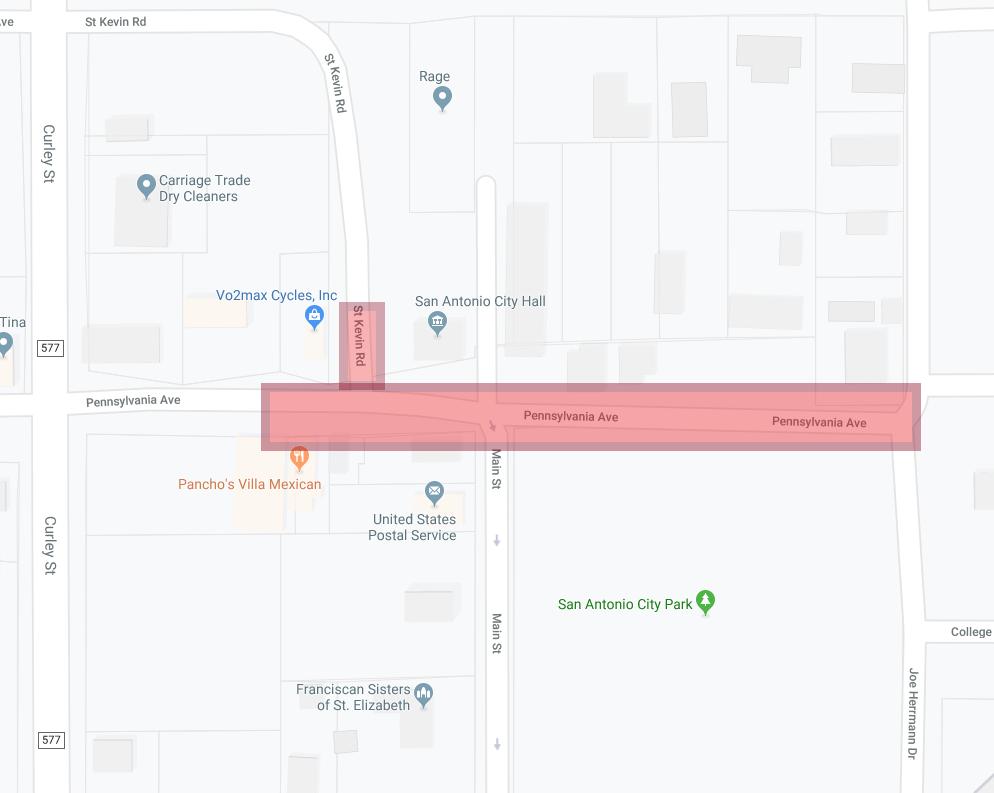 Map showing closure of Pennsylvania Avenue