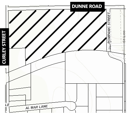 map showing location of Dunne Road property