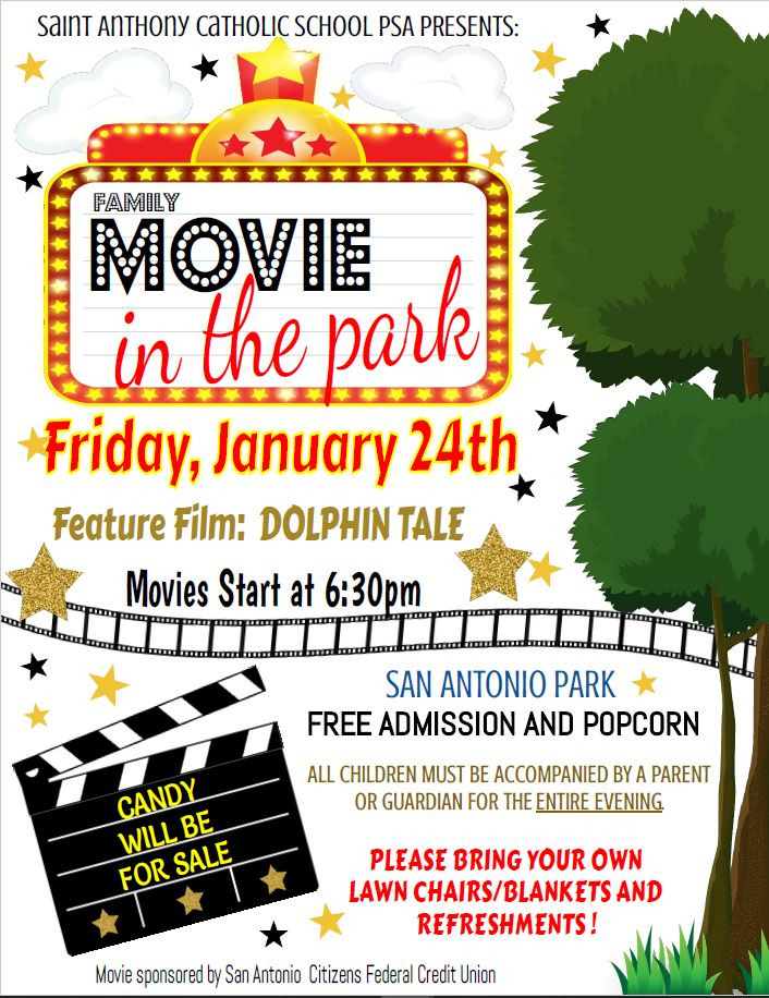 Movie in the Park flyer advertising January 24th event