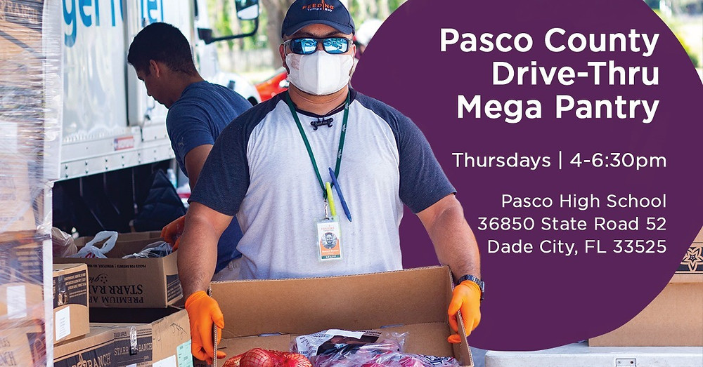 Man in mask holding box of food. Text: Pasco County Drive Thru Mega Pantry