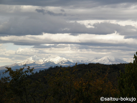 牧場から見える大雪山