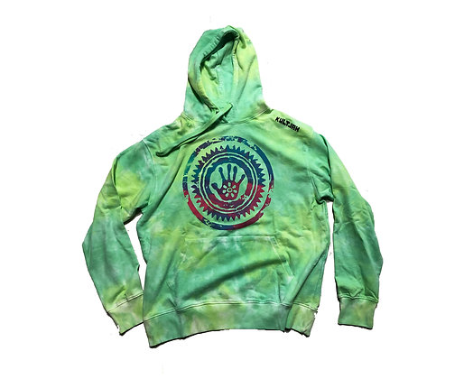 KULTJAH SPLASH DYED SUNPALM HOODIE (LEMON LIME)