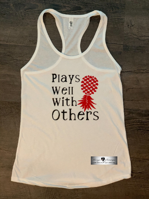 Plays Well with Others Upside Down Pineapple White Racer Back Tank Top - Swinger