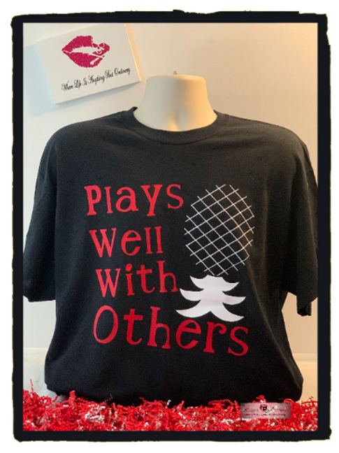 Plays Well With Others Black Graphic T-Shirt With Upside Down Pineapple - Swinge