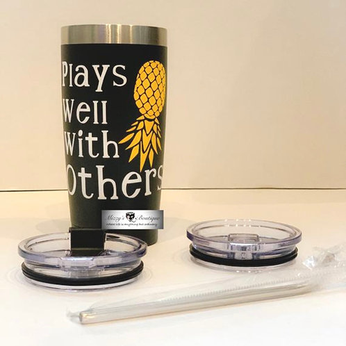 Plays Well with Others Upside Down Pineapple Travel Hot/Cold 20 ounce Tumbler wi
