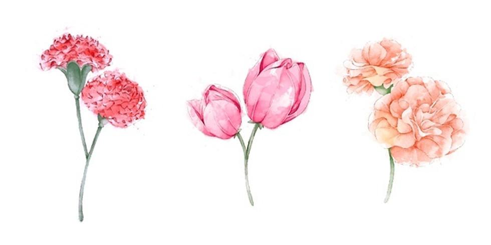 2nd Saturday   Watercolor Spring Flowers