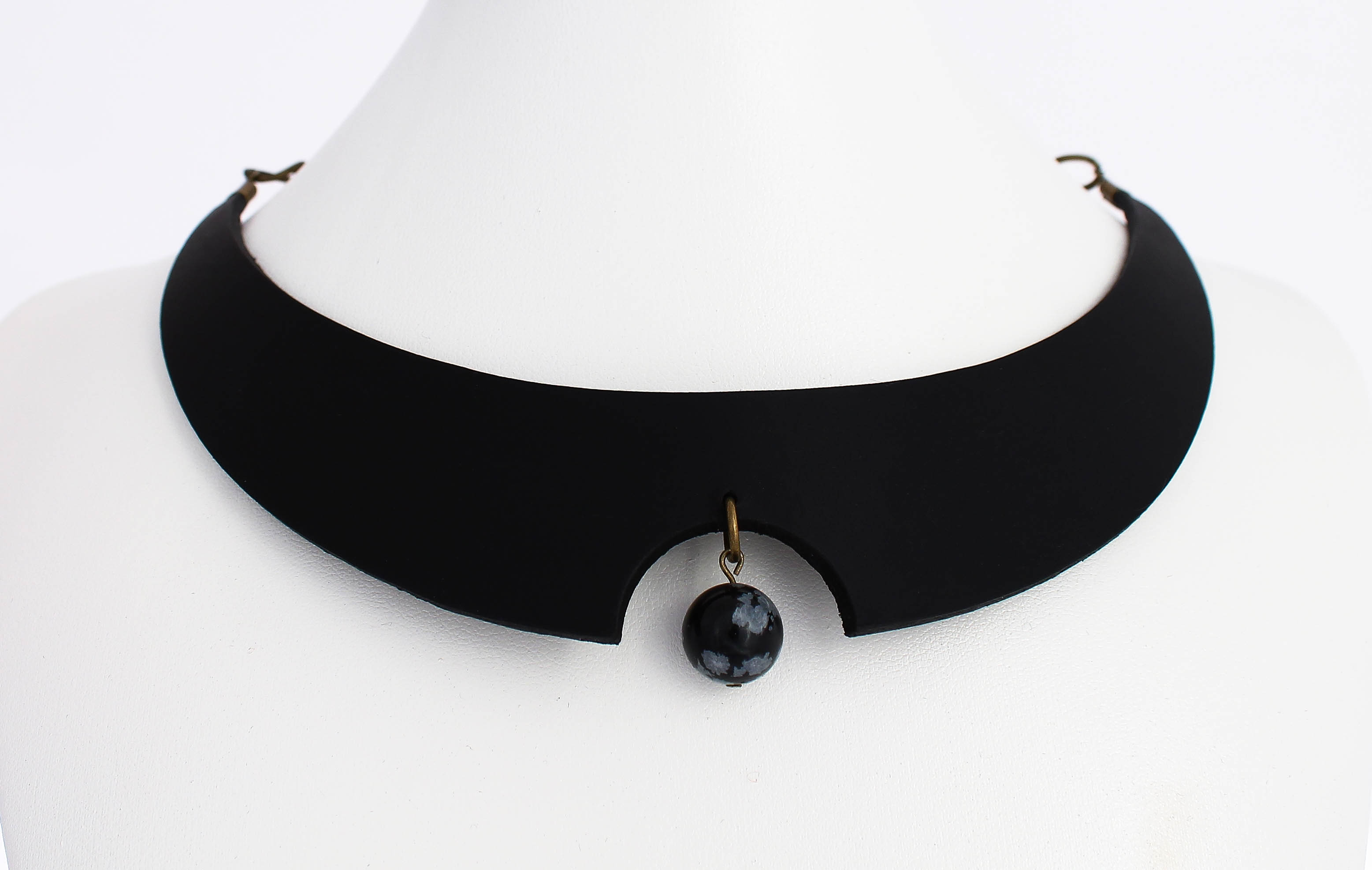snowflake obsidian leather choker