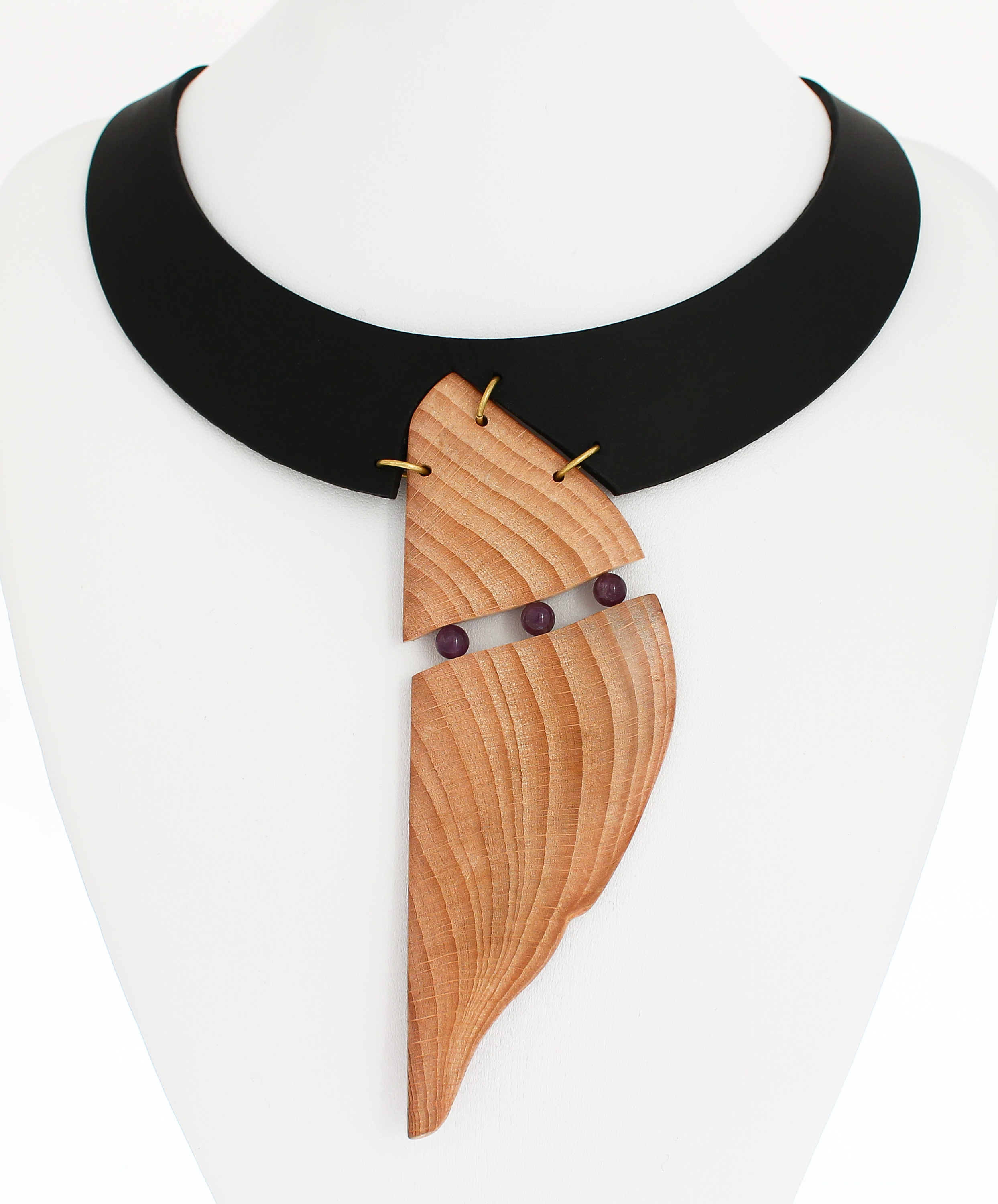 beech amethyst leather necklace