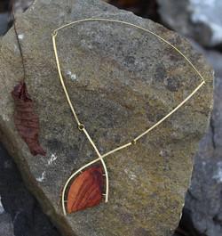 plum wood, brass necklace