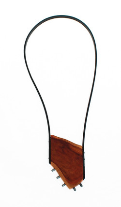 wild pear hematite leather necklace