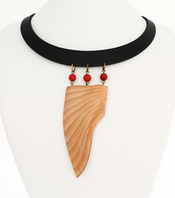 beech red coral leather necklace