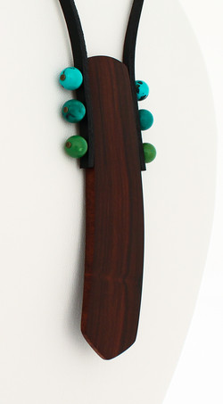 rosewood turquoise leather necklace
