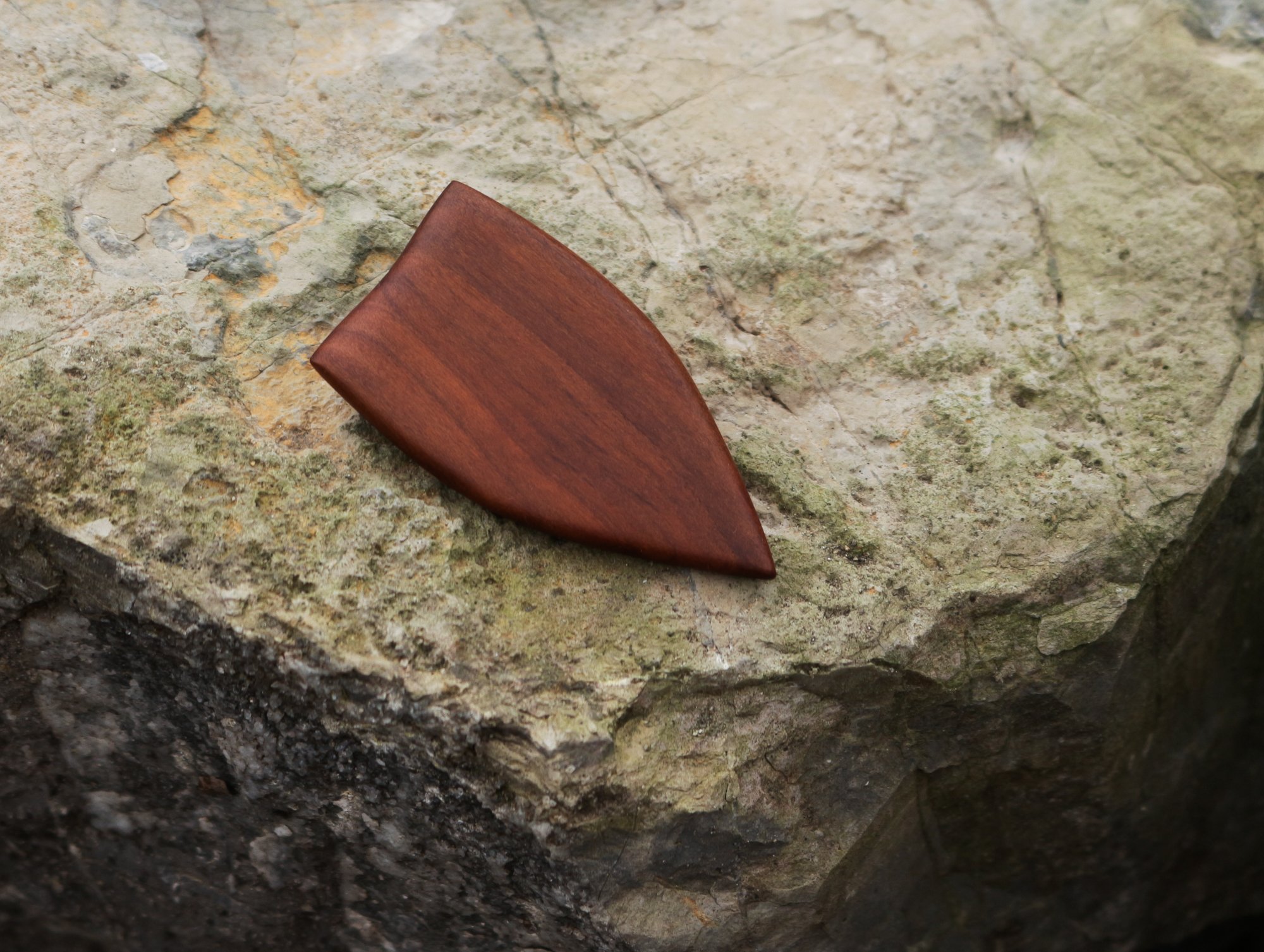 plum wood brooch