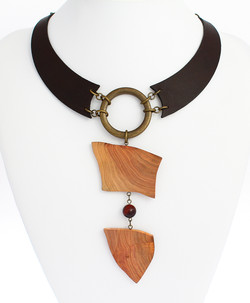 plum red tiger eye leather necklace